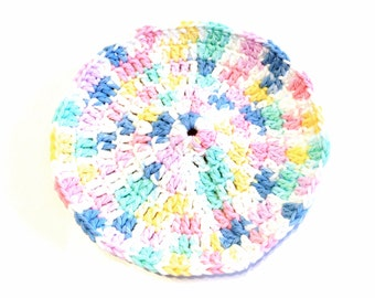 Pretty Pastels Crocheted Round Dish Cloth