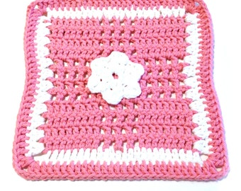 Rose Pink And White Flower Crocheted Square Dish Cloth