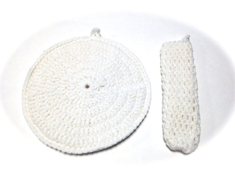 White Crocheted Round Potholder And White Pot Handle Cover Set