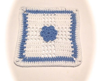 Light Blue And White Flower Crocheted Square Dish Cloth