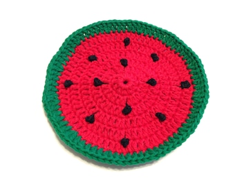 Red Watermelon Crocheted Round Dish Cloth