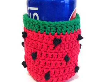 Watermelon Crocheted Can Cover-Red