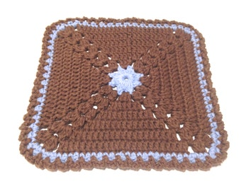Warm Brown And Light Blue Crocheted Square Corner Petal Dish Cloth
