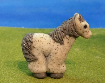 Gray freckled horse miniature polymer clay sculpture pony OOAK