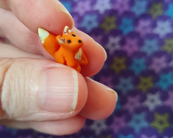 Tiny red fox handmade miniature polymer clay animal sculpture OOAK
