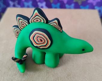 Bright green & orange Halloween stegosaurus kawaii cute polymer clay miniature OOAK dinosaur figurine