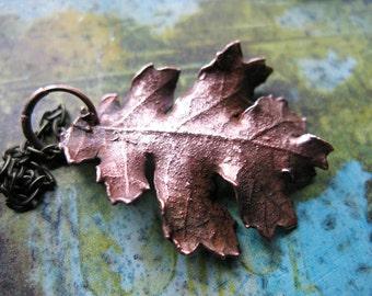 Real Oak Leaf Copper Electroformed Necklace Botanical Gardener OOAK