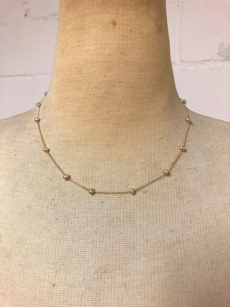Pink Freshwater pearl with gold filled chain Necklace.
