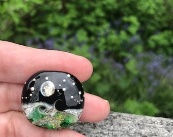 Green Magic Moon Simply Lampwork by Nancy Gant SRA G55 Focal Bead Handmade Artisan Glass Lampwork Bead