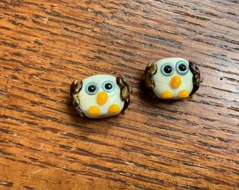 Hoot Owl pair ,  Lampwork Bead Pair, Simply Lampwork by Nancy Gant, SRA G55