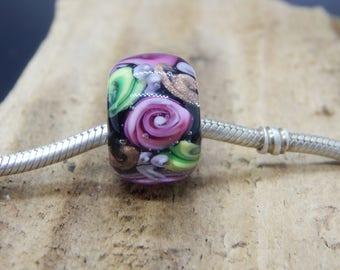 Pink Rose BHB,  Lampwork Bead,  Simply Lampwork by Nancy Gant, SRA G5
