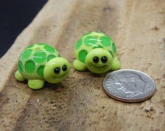 Turtles,  Lampwork Bead Pair, Simply Lampwork by Nancy Gant, SRA G55