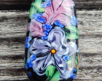 Garden Lace Focal Bead, Handmade Artisan Glass Lampwork Bead, Simply Lampwork by Nancy Gant SRA G55