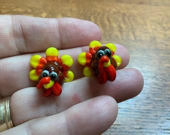 Turkey pair ,  Lampwork Bead Pair, Simply Lampwork by Nancy Gant, SRA G55