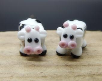 Moo Cows,  Lampwork Bead Pair, Simply Lampwork by Nancy Gant, SRA G55