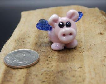 Flying Pig ,  Lampwork Bead, Simply Lampwork by Nancy Gant, SRA G5