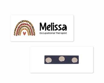 "Personalized Magnetic Name Badge / Boho Leopard Rainbow /  Custom Name Tag - 1.25"" x 3"" Magnetic / Dental / OT / Nurse / Realtor"