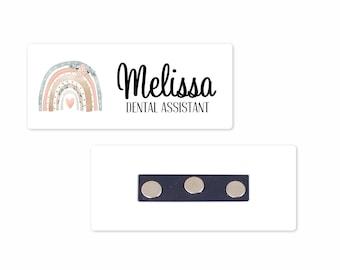 "Personalized Magnetic Name Badge / Boho Floral Rainbow /  Custom Name Tag - 1.25"" x 3"" Magnetic / Dental / OT / Nurse / Realtor"