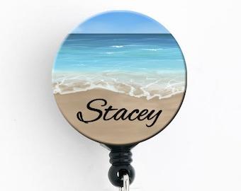 Retractable ID Badge Holder - Beach Dreaming - Personalized Name Badge Reel, Steth Tag, Lanyard, Carabiner Nurse Badge