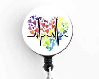 LGBT Peace EKG Heartbeat with Rainbow Heart Retractable Badge ID Holder