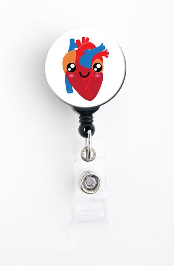 Retractable Badge Reel - Super Cute Heart - Badge Holder with Swivel Clip /  Nurse Badge / Doctor Badge / Kawaii / Cardiology / Cardiac