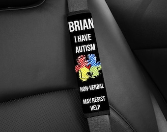 Autism Seatbelt Cover - PERSONALIZED to Meet Your Needs / Seat Belt Cover / Autism Awareness / Non Verbal / Medical Alert