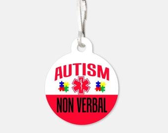 Medical Alert Tag - Autism Non Verbal Medical Alert - Zipper Pull Charms / Emergency Tag / Medical Tag / Medical Warning