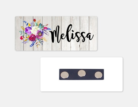 ROTATING CLIP /& PIN Custom Engraved Name Badge Receptionist Administrator Fonts