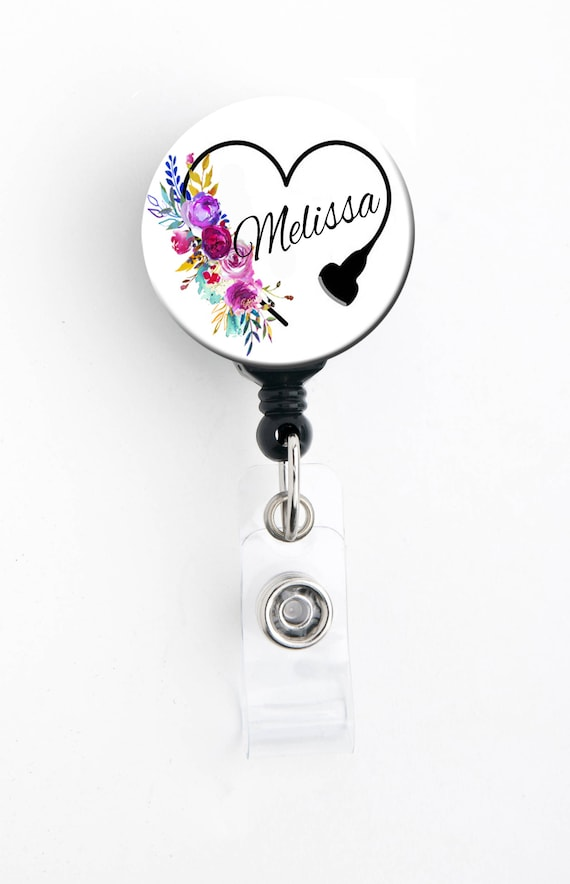 Lanyard Personalized Name Carabiner  Nurse Badge  RT Badge Floral Steth Heart Badge Reel Steth Tag Retractable ID Badge Holder