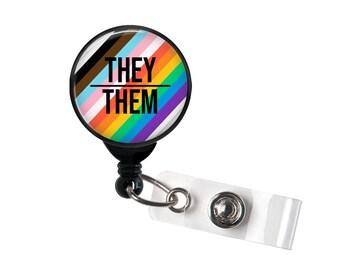 Retractable Badge Holder - THEY / THEM Pronoun Progress Pride Flag LGBTQ Rainbow Flag - Badge Reel - Cute Nurse Badge