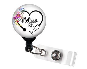 Retractable ID Badge Holder - Personalized Name - Floral Steth Heart - Badge Reel, Steth Tag, Lanyard, Carabiner / Nurse Badge / RT Badge