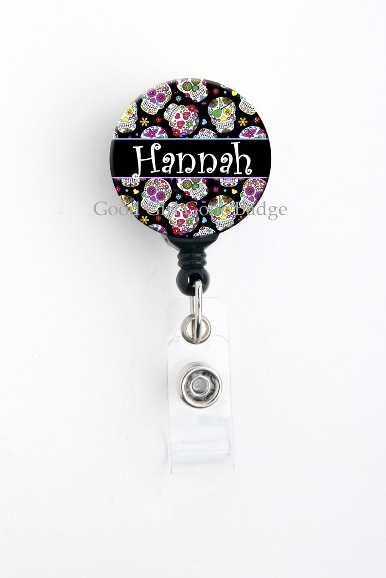 Retractable ID Badge Holder  Personalized Name  Sugar Skulls image 0