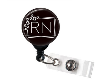 Retractable Badge Reel - RN Leopard Frame - Badge Holder with Swivel Clip / Nurse Badge / Cute Badge / Hospital Badge