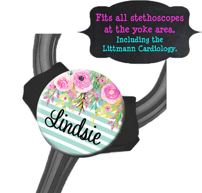 Fits all Steths at the Yoke including the Littmann Cardiology Striped Blue Floral Yoke Stethoscope Tag
