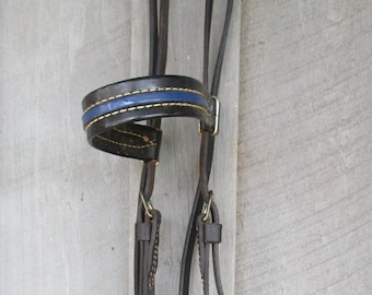 "Vintage Black Leather Horse Halter - Black/ Blue Equestrian Decor - Farmhouse ""Wall Art"" - Old Barn Finds"