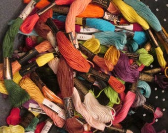 Embroidery Floss - Assorted Colors/ Assorted Brands - Random Assortments 36/72 - New Old Stock