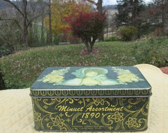 Vintage Cookie/ Candy Tin - Minuet Assortment 1890 - Designed by Daher - Made In England