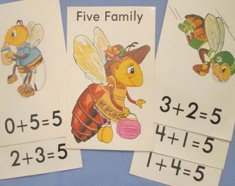 Vintage Flash Cards - Large Math Flash Cards - Nursery Decor - Childrens Wall Art - Choice of Sets - For Framing