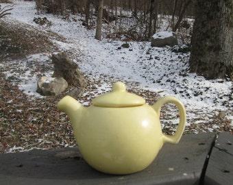 Small Vintage Teapot - Yellow Pottery Teapot - Single Cup Teapot