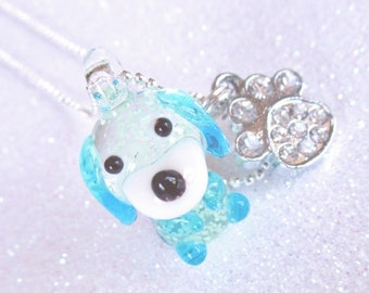 Necklace 3D Lucky Dog glow in the dark necklace,  pendant necklace,  rhinestone charm necklace, blue paw print jewelry girls kids tween teen