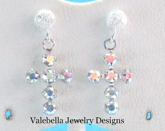 Earrings Sterling silver Swarovski crystal Cross post earrings first holy Communion Confirmation Christmas Easter teacher gift jewelry