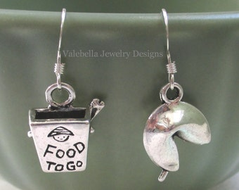 Earrings Take-out Anyone? sterling silver french wire 3D Chinese fortune cookie take out container chopsticks food earrings kids tween teen