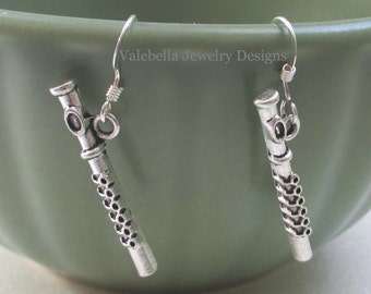 Earrings Flute sterling silver flautist wind instrument marching band dangle tween teen jewelry band concert music instructor teacher gift