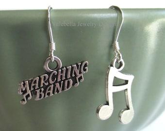 Earrings Marching Band sterling silver music note dangle earrings kids tween teen jewelry musician bean note band geek nerd music gift