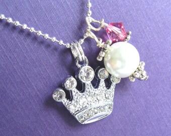 Necklace Crown Jewels rhinestone tiara charm necklace swarovski crystal CLEAR1 girls kids tween teen princess jewelry