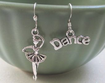Earrings Prima Ballerina sterling silver french wire dangle dance recital ballet earrings girls kids tween teen jewelry competition gift