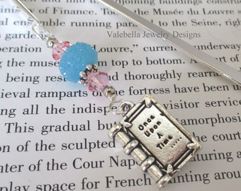 Bookmark Once Upon a Time Fairytale Princess silver shepherds hook handmade pink blue bookmark book club teacher reader book lover gift