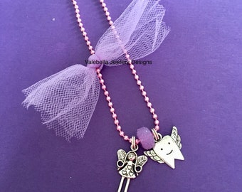 Necklace Tooth Fairy silver pink ball chain faux pearl silver charm winged tooth dentist hygienist gift kids girls tween jewelry keepsake
