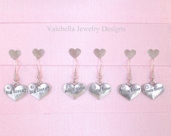 Earrings Big Middle Little Sister sterling silver french wire earrings rhinestone heart CHOOSE 1 PAIR girls new sister sibling gift love