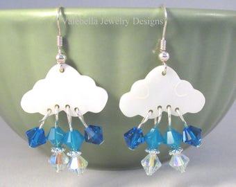 Storm Clouds sterling silver earrings mother of pearl earrings swarovski crystal rain drop earrings rainy day french wire teen jewelry cloud